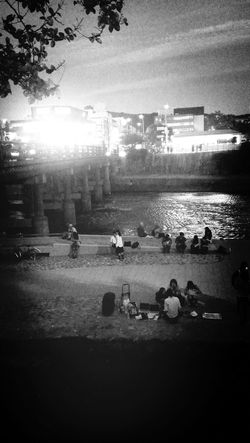 River Riverside Blackandwhite Kyoto