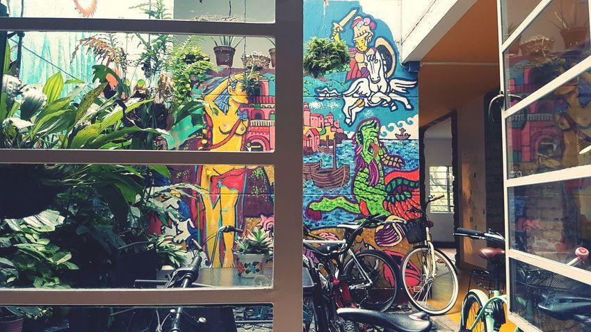 Coworking Patio Bicycles Multi Colored Graffiti Street Art