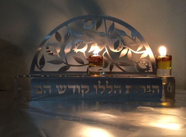 Festival IPhone Lights Festival Gratitude Spirituality Jewish Judaism Chanukkah Hanukkah Fire - Natural Phenomenon Flame Burning Heat - Temperature Candle Glowing Illuminated Indoors  No People Close-up