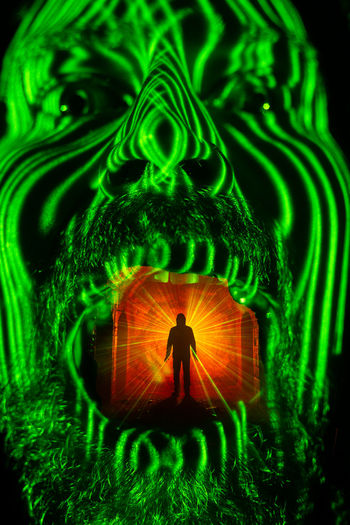 Face Light Painting Long Face Green Shrunken Head Silhouettes Man Open Mouth Laser Cyberspace Pattern Technology Close-up Green Color