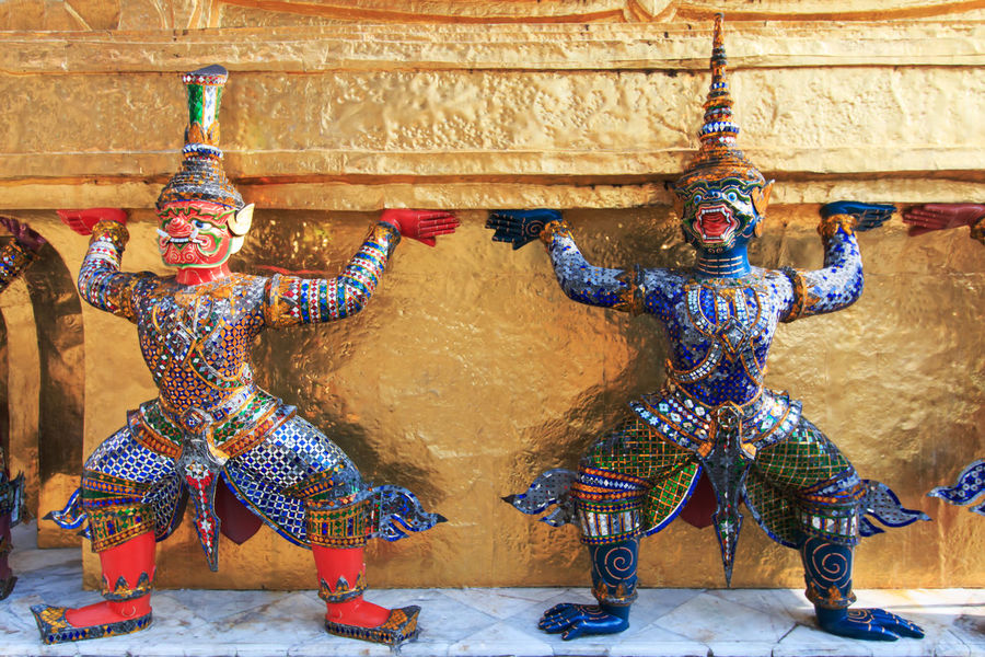Statue of Yaksa on guard at the Temple of the Emerald Buddha Art Bangkok Craft Creativity Cultures Day Decoration Design Emerald Buddha Temple Multi Colored No People Ornate Travel Destinations YAKSA