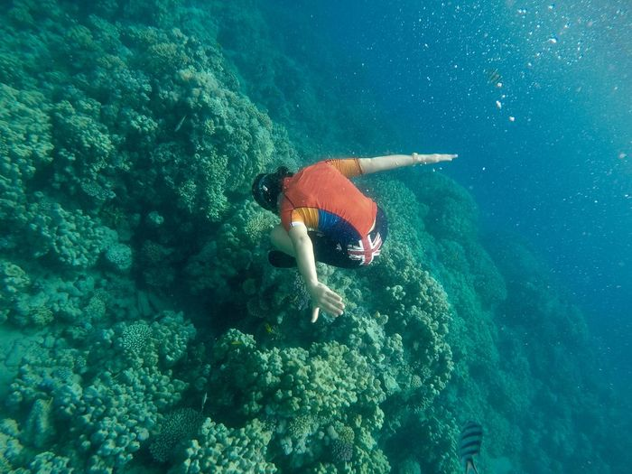 Full length of girl swimming in sea
