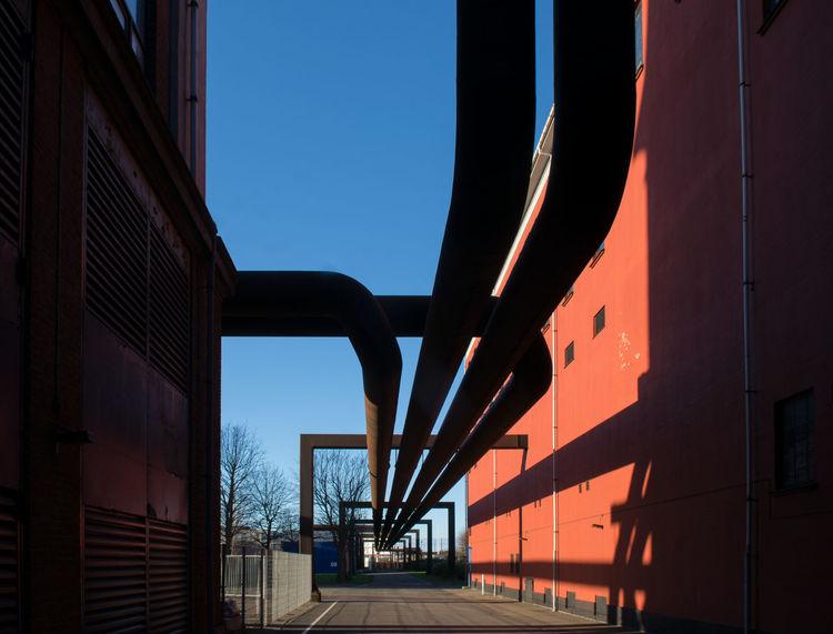 District Heating Pipes Rust Copenhagen Building Exterior No People