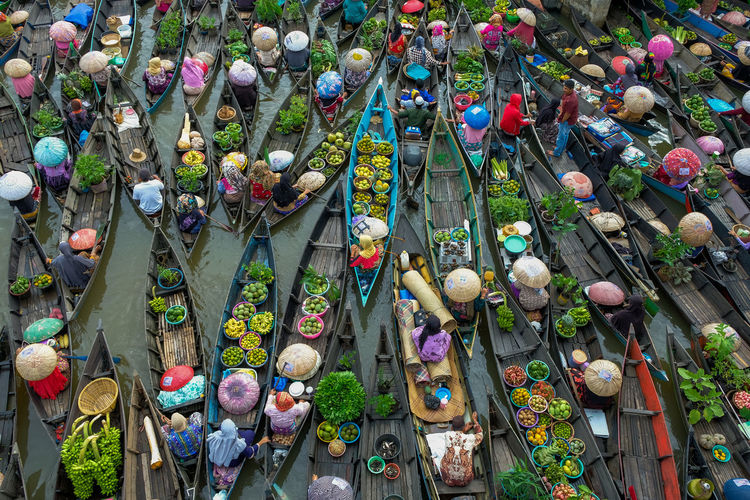 High angle view of multi colored statues