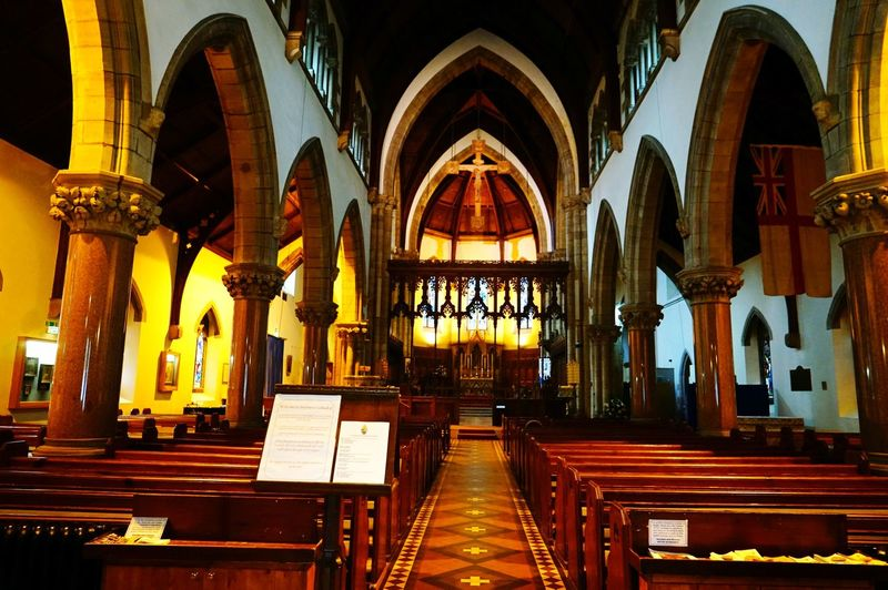 Inside Church Arch Religion History Place Of Worship Spirituality Architecture Pew Architectural Column Indoors  Day No People Christian Church Building Ligth Yellow Sunday Activity