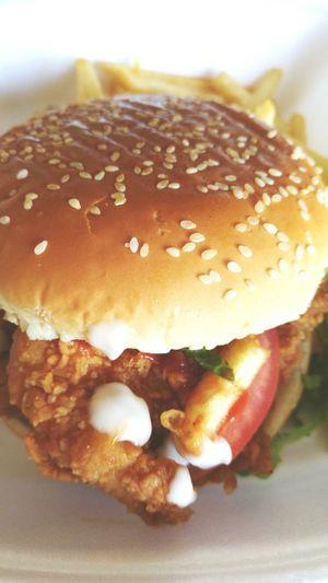 Chicken Burger Fastfood Big Meal Taking Photos