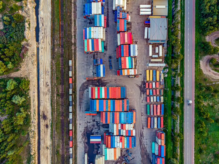 Aerial view of cargo containers