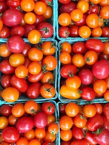 Tomatoes Abundance Full Frame Red Healthy Eating Food And Drink Large Group Of Objects Freshness Fruit Food Healthy Lifestyle No People Market Backgrounds Tomato Day Outdoors Yellow Close-up Multi Colored Supermarket Farmers Market Farmstand