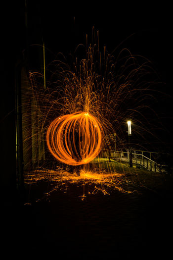 Illuminated Long Exposure Motion Night No People Outdoors Steelwool Steelwoolphotography Wire Wool Orbi