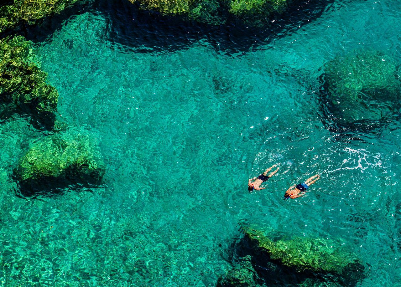 High angle view of two men swimming in sea
