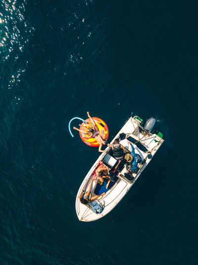 High angle view of man sailing in sea