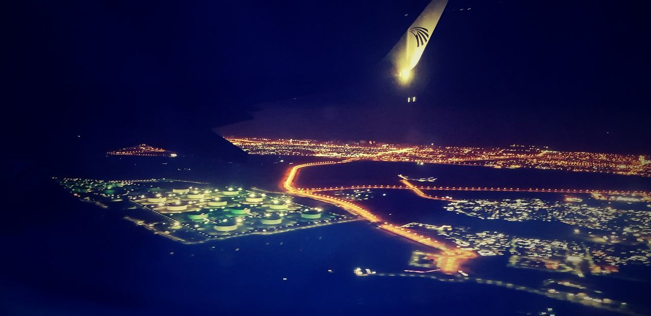 Egyptair Night Aerial View Mid-air Illuminated No People Sea Airplane City Cityscape Outdoors Sky UnderSea