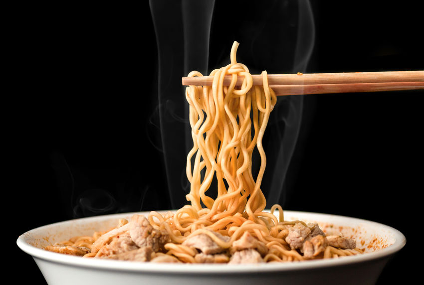 Chopsticks pick up tasty noodles with smoke on dark background. Ramen in white bowl. Food And Drink Food Black Background Studio Shot Meal Bowl Indoors  Ready-to-eat Wellbeing Freshness Healthy Eating Close-up Kitchen Utensil Heat - Temperature No People Dinner Noodles Noodle Soup Noodle Noodlesoup Ramen Ramen Noodle Udon Udon Noodles Chopsticks