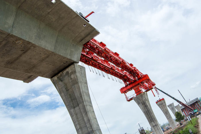 A bridge too far Architectural Column Architecture Bridge - Man Made Structure Built Structure Cloud - Sky Connection Day Engineering Expressway Low Angle View No People Outdoors Sky Teamwork