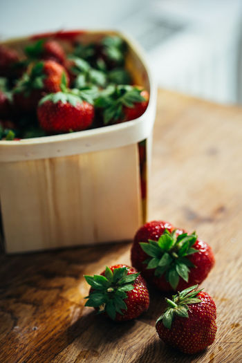 Fresh strawberries from the stand Copy Space Berry Fruit Bowl Close-up Focus On Foreground Food Freshness Fruit Healthy Eating Indoors  No People Plant Part Red Ripe Selective Focus Still Life Strawberry Table Wellbeing Wood - Material