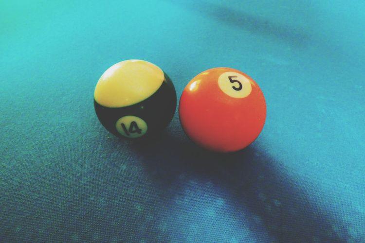 High angle view of balls on table