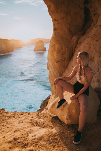 Split Woman Adult Beach Beauty In Nature Cliff Full Length Hairstyle Land Leisure Activity Lifestyles Ocean One Person Outdoors Real People Rock Rock - Object Rock Formation Sea Sunrise Tumblrgirl Water Women Young Adult Young Women A New Beginning International Women's Day 2019