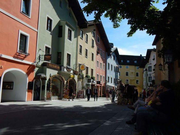 Street Building Exterior Architecture Built Structure Backgrounds Scenics Travel Destinations Colourful Places Pastels. Austria Beautiful Towns People Watching