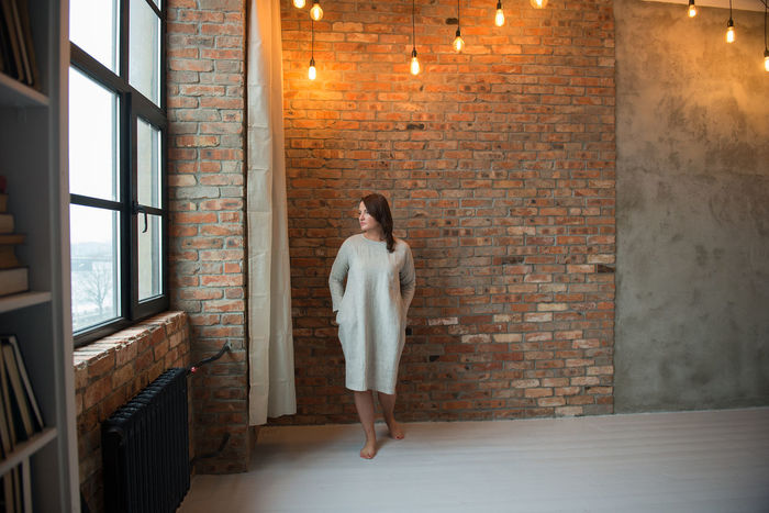 Dress Fashion Adult Adults Only Barefoot Clothes Clothing Day Full Length Gray Dress Indoors  Linen Model One Person One Woman Only One Young Woman Only Only Women People Standing Studio Shot Style Summer Fashion Texture Window Young Adult EyeEm Ready