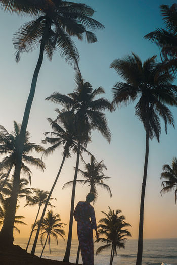 Silhouette woman standing by palm trees at beach during sunset