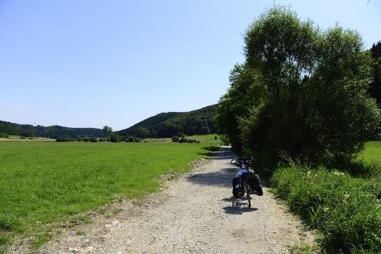 On the road near Sigmaringen on the way to Rome Cycle Trip Road Sigmaringen Bicycle Cycle Track Day Field Germany Grass Outdoors Riding