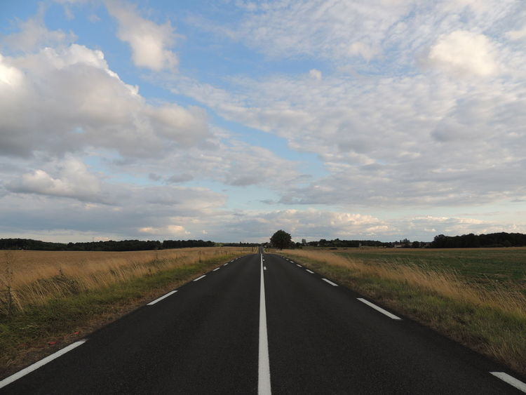 Touraine Cloud - Sky Diminishing Perspective Direction Dividing Line Environment Field Land Landscape Long Marking Nature No People Outdoors Plant Road Road Marking Scenics - Nature Sign Sky Symbol The Way Forward Tranquil Scene Tranquility Transportation