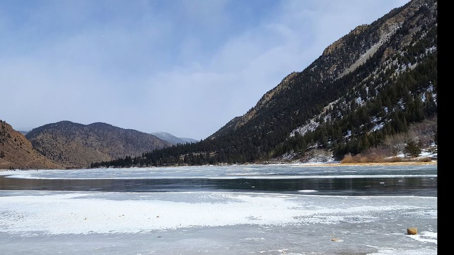 Frozen over Georgetown Lake, Colorado Cold Temperature Mountain Lake Snow Winter Nature Frozen Outdoors Landscape Scenics Beauty In Nature Mountain Range Frozen Water Tranquility Ice
