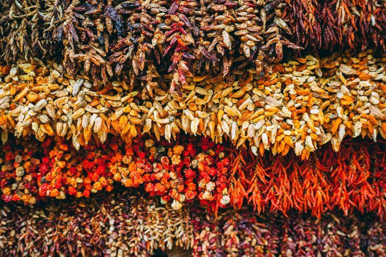 Full frame shot of dry vegetables in market