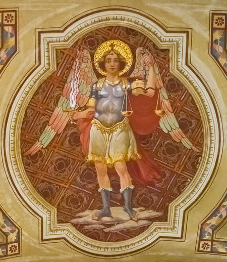 Erzengel Michael Michael Angel Architecture Art And Craft Belief Built Structure Ceiling Craft Creativity Female Likeness Fresco Human Representation Indoors  Mural No People Ornate Place Of Worship Religion Representation Sculpture Spirituality Statue The Past