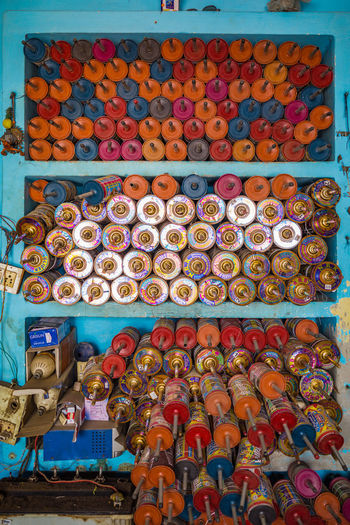 High angle view of multi colored candies for sale
