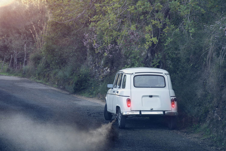 Day Exhaust Fumes Journey Mallorca No People Old Car Outdoors Renault Road Smoke SPAIN Street Transportation Travel Tree Vintage Car White Car