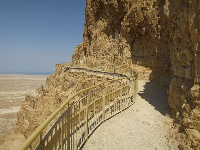 Observation Point On Rock Formation Against Clear Sky