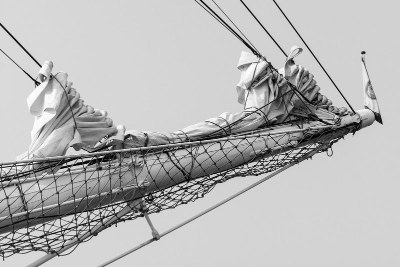Black And White Bowsprit Day Detail Lines Low Angle View Monochrome Nautical Nautical Equipment Nautical Vessel No People Outdoors Ropes Sailing Ship Sails Ship Sky Tall Ship