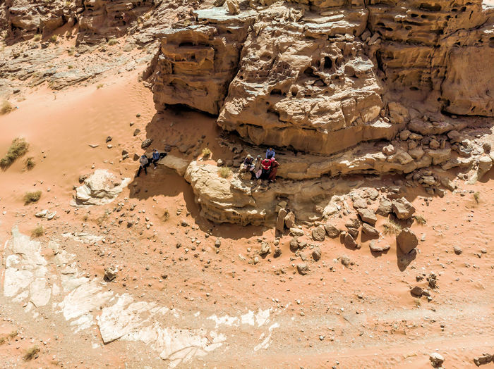High Angle View Of Rock Formations In Desert During Sunny Day