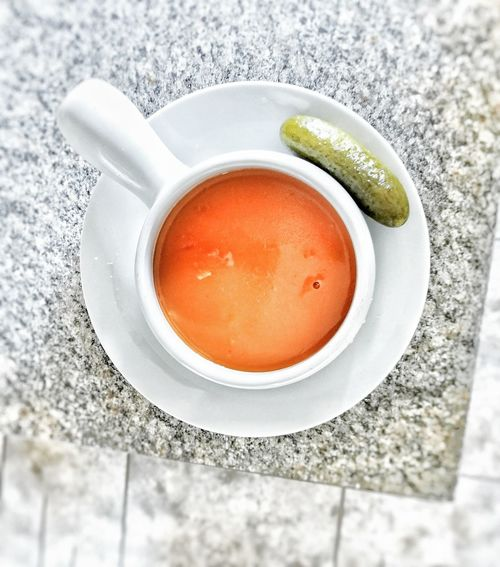 Soup Food And Drink High Angle View No People Tomato Pickle Soup Bowl Food Drink Indoors  Close-up Cold Temperature Day Freshness