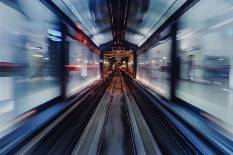 Blurred motion of subway train