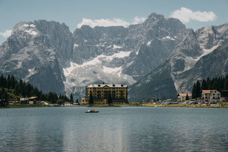 Misurina Lake Misurina Dolomites, Italy Dolomites Italy Lake Lake View Boat Mountain Water Mountain Range Waterfront Nautical Vessel Architecture Built Structure Transportation Mode Of Transportation Building Exterior Beauty In Nature Scenics - Nature Sky Nature Day Building Travel No People Outdoors Passenger Craft Formation