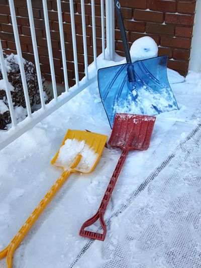 Good work Shovel Pelle Neige Snow Work Help Quebec Granby Winter Hiver High Angle View No People Day Close-up Outdoors
