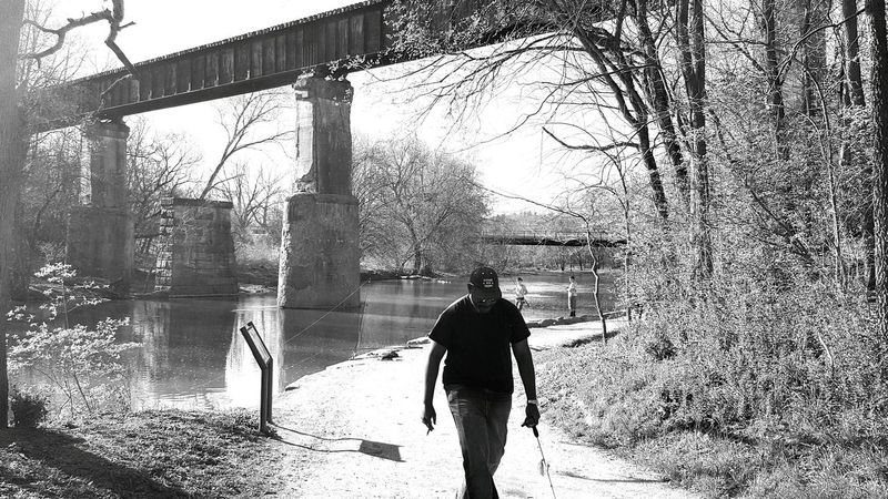River View Black And White Water Bridge Grainy Path Nature Battelle Darby Columbus, Ohio Photobombed