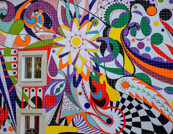 Multi Colored Creativity Art And Craft Full Frame Pattern Built Structure Backgrounds No People Wall - Building Feature Design Graffiti Architecture Text Street Art Building Exterior Day Communication Mosaic Close-up Tile Mural Floral Pattern