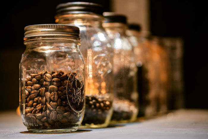 Some jars of coffee bean. Coffee Shop Coffee Time Perspective Close-up Cofee Break Coffee Bean Coffee Jar Coffee Shop Scene Day Food Food And Drink Freshness Indoors  Jar No People Perspective Photography Perspective View