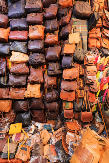 Full frame shot of multi colored store bags for sale in market