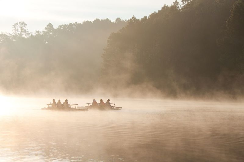 Silhouette people on boats in river against trees during foggy sunrise