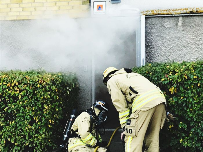 Firefighters wearing uniform while working by plants