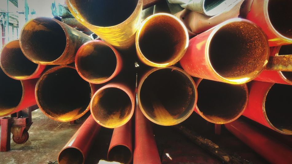 Red steel tube stacked Steel Red Steel Red Pipe Stacked Rusty Rusty Metal Texture Close-up Pipe - Tube Pipe Water Pipe