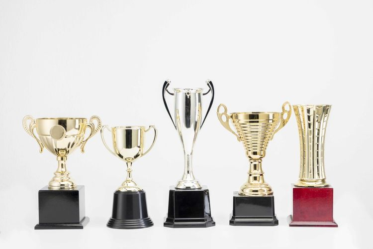 Variety of Trophy Cup on white background White Background Studio Shot Still Life AWARD Trophy Achievement Indoors  Success Side By Side Gold Colored Winning Shiny Copy Space No People Group Of Objects Variation Cut Out Arrangement Close-up Choice Silver Colored