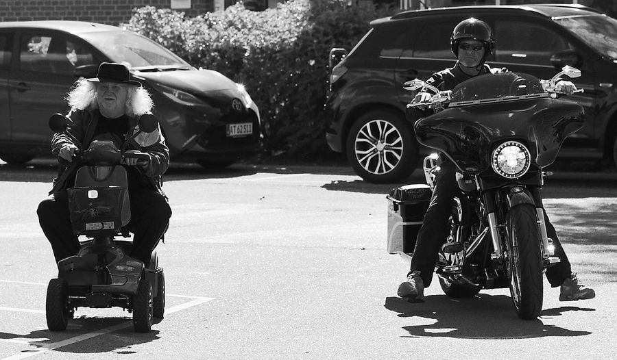 #blackandwhite #contrasts #streetphotography #summer Day Men Motorcycle Racing Outdoors Real People Transportation