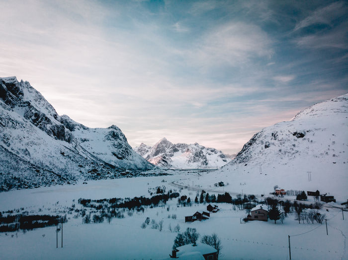 distance. available in print on darkoom.tech/liveavacation Winter Cold Temperature Snow Sky Scenics - Nature Mountain Cloud - Sky Beauty In Nature Tranquil Scene Tranquility Mountain Range Snowcapped Mountain Nature Environment Landscape Non-urban Scene No People Covering Idyllic Norway Ice Winter Sonyalpha Drone Photography