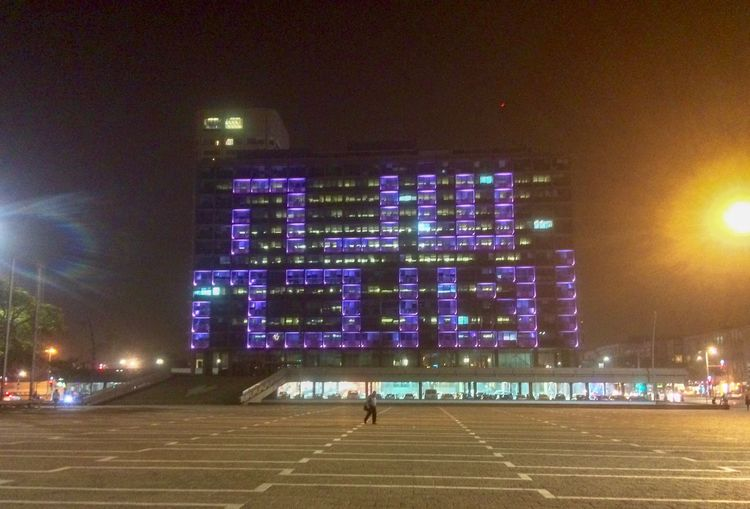 New year Rosh Hashanah Rabin Square New Year Night Illuminated Architecture Built Structure Building Exterior Real People Lifestyles Travel Destinations City Building Outdoors Lighting Equipment Leisure Activity Sky