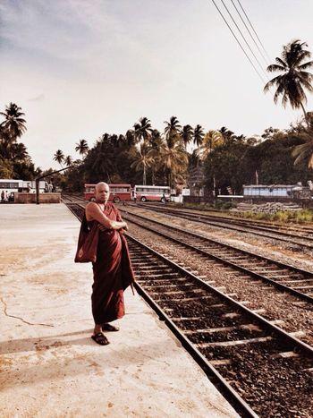 Bentota Sri Lanka Monk  Railway Track Railway Station Crossing Transportation Buses